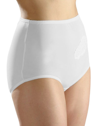 Hanna Full-Fit Lace Applique Briefs-WHITE-Small