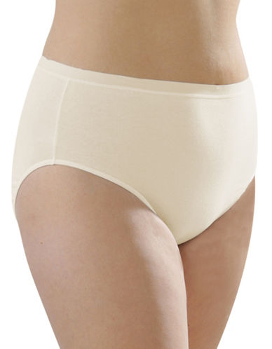 Hanna High Cut Cotton Briefs-BEIGE-X-Large