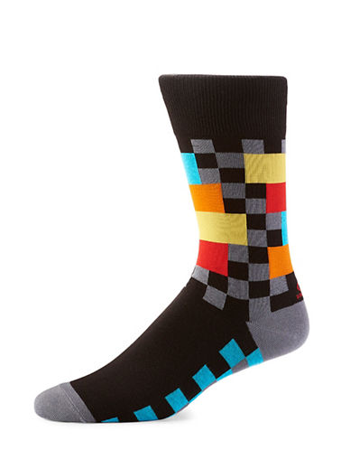 Yo Sox Geometric Crew Socks-BLACK-7-12