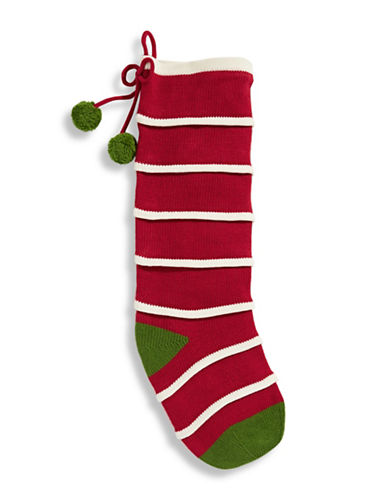 Lord & Taylor Winter Charms  20 inch Long Stripe Knit Stocking RED - Red