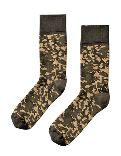 Yo Sox Mens Camouflage Crew Socks-GREEN-7-12