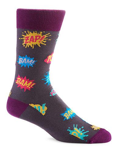Yo Sox Pow! Zap! Bam! Crew Socks-BLACK-7-12