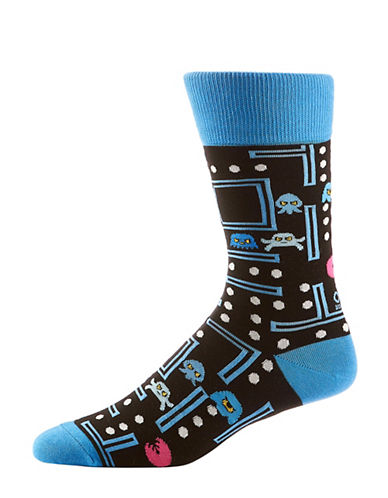 Yo Sox Monsters Video Game Mid-Calf Crew Socks-BLACK-7-12