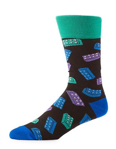 Yo Sox Block Print Crew Socks-BLACK-7-12