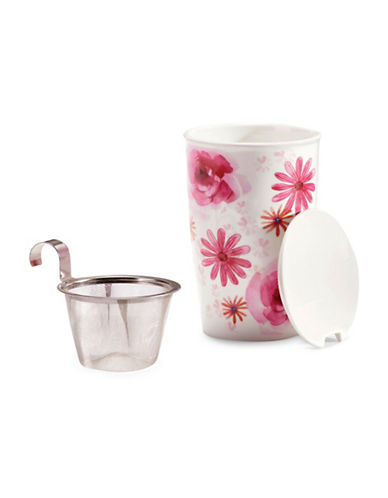 For TeaS Sake Floral Porcelain Infuser Mug-PINK-One Size