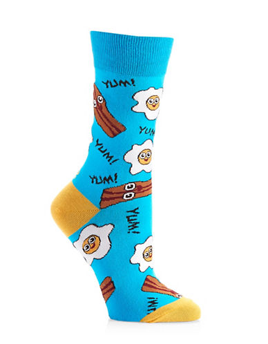 Yo Sox Womens Bacon & Eggs Socks-BLUE MULTI-One Size
