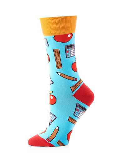 Yo Sox Womens Teacher Icons Crew Socks-BLUE-One Size