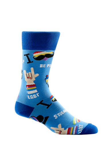 Yo Sox Pride Crew Socks-BLUE-7-12
