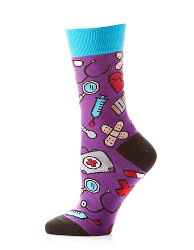 Yo Sox Womens Medical Socks-PURPLE MULTI-One Size