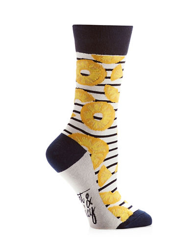 Yo Sox Womens Pineapple Slices Crew Socks-YELLOW-One Size