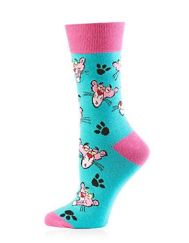 Yo Sox Womens Panther Socks-BLUE MULTI-One Size