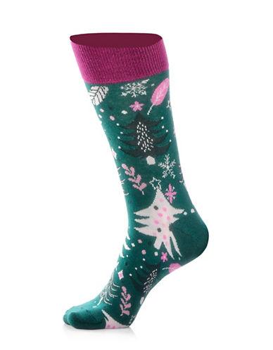 Yo Sox Womens Tree Socks-GREEN-One Size