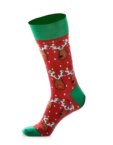 Yo Sox Womens Reindeer Lights Socks-RED-One Size