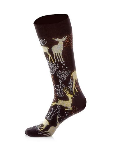 Yo Sox Womens Reindeer Socks-BLACK-One Size
