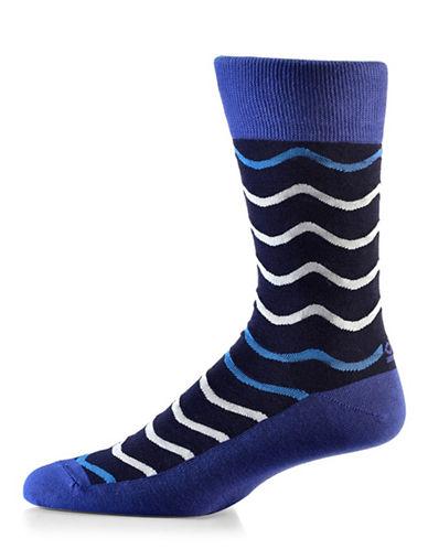 Yo Sox Wave Crew Socks-NAVY BLUE-7-12