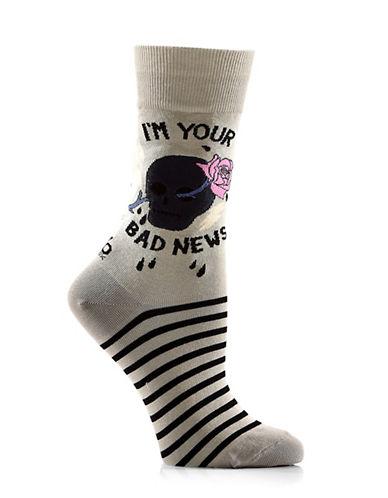 Yo Sox Womens Im Your Bad News Crew Socks-ASSORTED-One Size