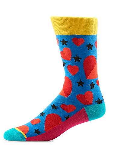 Yo Sox Hearts and Stars Crew Socks-BLUE-10
