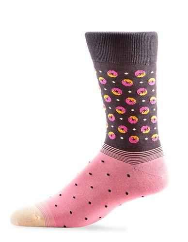 Yo Sox Mens Donut Pattern Crew Socks-BLACK-7-12