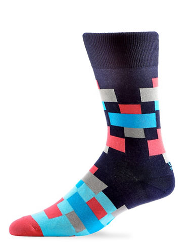 Yo Sox Mens Multicolour Crew Socks-MULTI-7-12