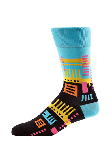 Yo Sox Mens Geometric Pattern Crew Socks-MULTI-10