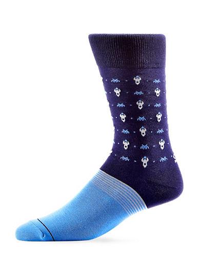 Yo Sox Mens Space Invader Crew Socks-BLUE-7-12