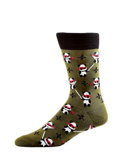Yo Sox Mens Ninja Panda Crew Socks-DARK GREEN-10