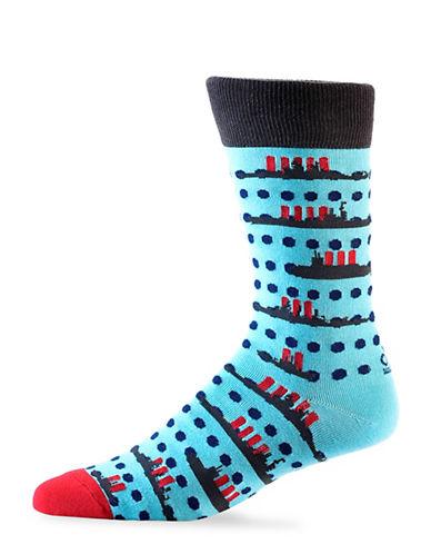 Yo Sox Mens Battleship Design Crew Socks-BLUE-7-12