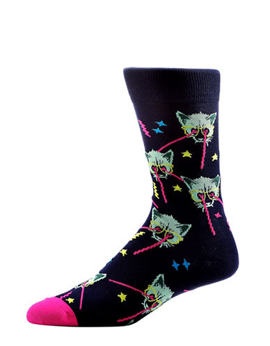 Yo Sox Mens Lazer Cats Crew Socks-BLACK-10