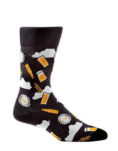 Yo Sox Mens Beer Crew Socks-GREY-10