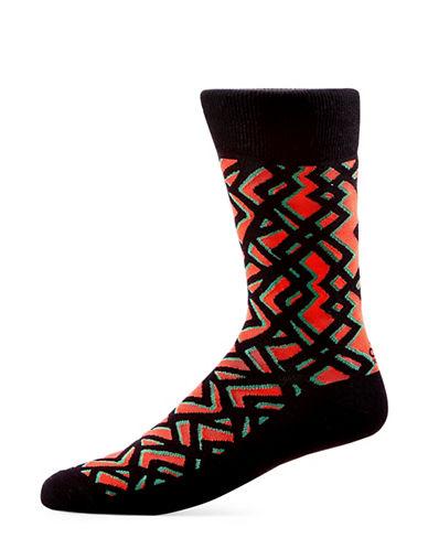 Yo Sox Geometric Cotton Crew Socks-RED-7-12