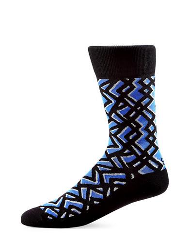 Yo Sox Geometric Cotton Crew Socks-BLUE-7-12