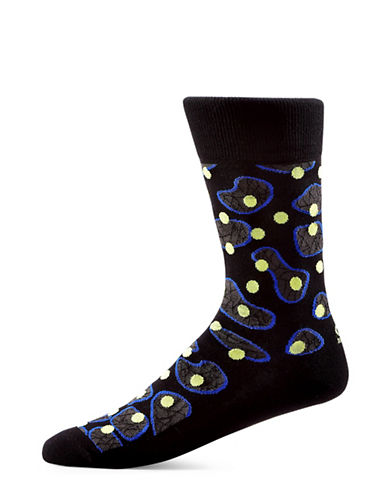 Yo Sox Dots and Lines Cotton Crew Socks-BLACK-7-12