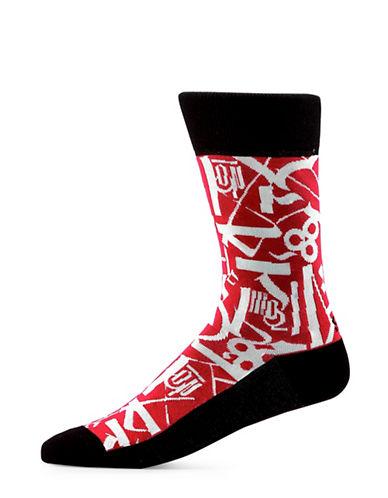 Yo Sox Alien Drawing Cotton Crew Socks-RED-7-12
