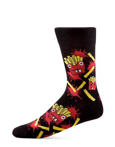 Yo Sox Angry Fries Cotton Crew Socks-BLACK-7-12