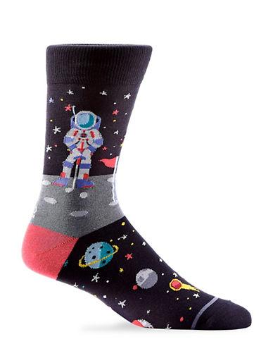 Yo Sox Mens Moon Golfer Crew Socks-BLACK-7-12