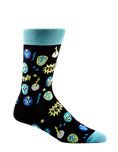 Yo Sox Mens Wrestling Masks Crew Socks-BLACK-10