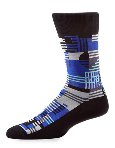 Yo Sox Abstract Stripe Crew Socks-MULTI-COLOURED-7-12