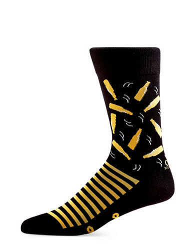 Yo Sox Beer Cotton Crew Socks-BLACK-7-12
