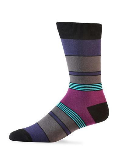 Yo Sox Mens Multicolour Stripe Crew Socks-MULTI-7-12