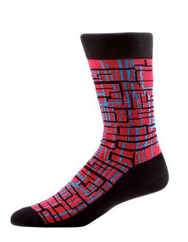 Yo Sox Mens Graphic Lines Crew Socks-RED-10