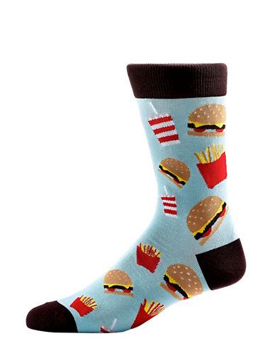 Yo Sox Mens Burger, Fries and Soda Socks-LIGHT BLUE-10
