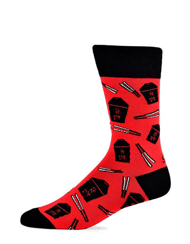 Yo Sox Chinese Food Cotton Crew Socks-RED-7-12