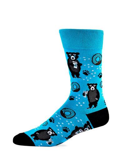 Yo Sox Bear Cotton Crew Socks-TEAL-7-12