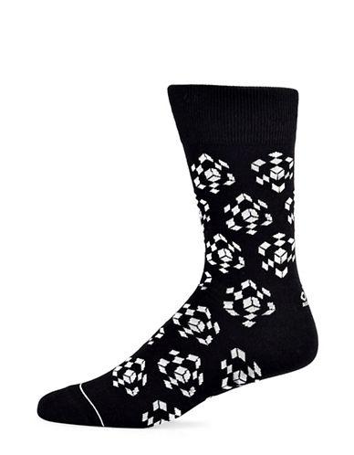 Yo Sox Cube Cotton Crew Socks-BLACK-7-12