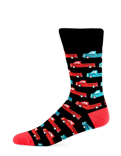 Yo Sox Truck Cotton Crew Socks-BLACK-7-12