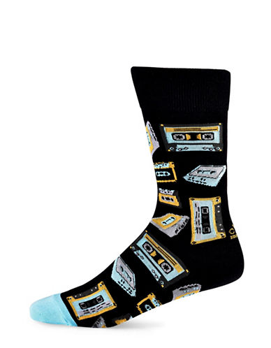 Yo Sox Cassette Cotton Crew Socks-BLACK-7-12