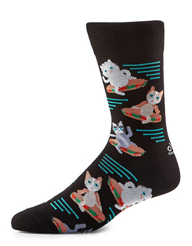 Yo Sox Cats Riding Submarine Sandwiches Crew Socks-BLACK-7-12