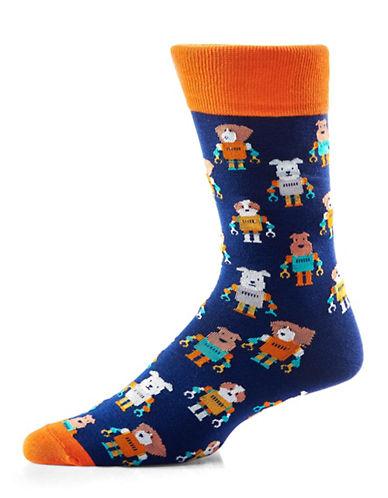 Yo Sox Dog Robots Crew Socks-DARK BLUE-7-12