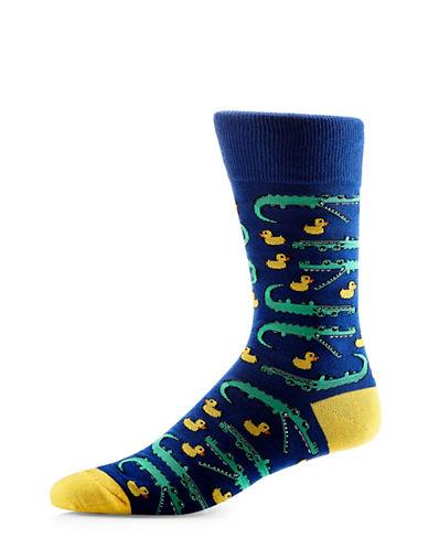 Yo Sox Alligator Duck Crew Socks-NAVY-7-12