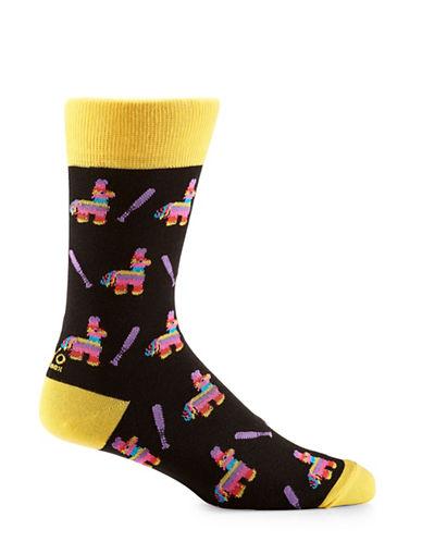 Yo Sox Pinata Crew Socks-BLACK/YELLOW-7-12